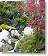 Red Maple Above The Falls Metal Print