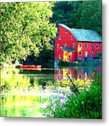 Red Mill On The Lake Metal Print by Artistic Photos