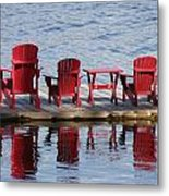 Red Muskoka Chairs Metal Print