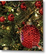 Red On A Green Christmas Tree Metal Print