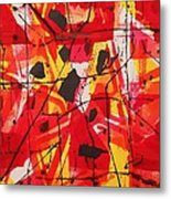 Red Orange Abstract Metal Print