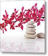 Red Orchid With Balance Stone Metal Print