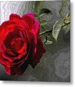 Red Paris Rose Metal Print