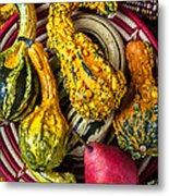 Red Pear And Gourds Metal Print