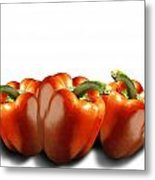 Red Peppers On White Metal Print