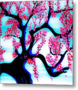 Red Plum Oriental Influence Metal Print