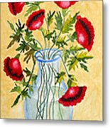 Red Poppies In A Vase Metal Print