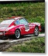 Red Porsche Running Away Metal Print
