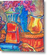 Red Purse And Blue Line Metal Print by Blenda Studio