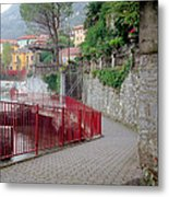 Red Rail Walkway To Varenna Along Lake Como Metal Print