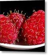 Red Raspberries On A White Spoon Against Black No.0102 Metal Print