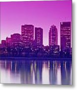 Red River And Downtown Winnipeg Metal Print