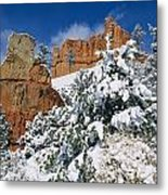 Red Rock Formations Poke Through A Late Metal Print