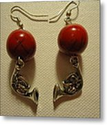 Red Rocker French Horn Earrings Metal Print by Jenna Green