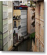 Red Rooftops In Prague Canal Metal Print