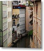 Red Rooftops In Prague Canal Metal Print by Linda Woods
