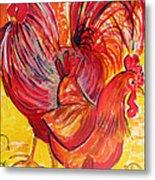 Red Rooster Red Hen Metal Print