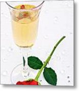 Red Rose And A Glass Of Champagne Metal Print