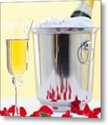 Red Rose And Champagne Metal Print by Richard Thomas