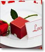 Red Rose And Engagement Ring Metal Print