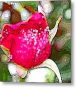 Red Rose Bud Metal Print