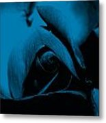 Red Rose Close Up 2011 In Blue Metal Print
