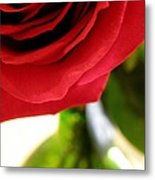Red Rose In Glass Vase Metal Print