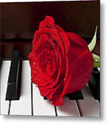 Red Rose On Piano Metal Print