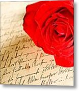 Red Rose Over A Hand Written Letter Metal Print