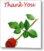 Red Rose Thank You Card Metal Print