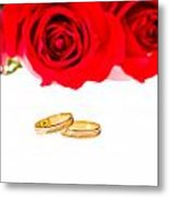 Red Roses And Wedding Rings Over White Metal Print