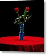 Red Roses On A Table Metal Print