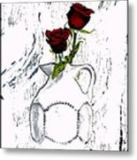 Red Roses With Green Leaves Metal Print