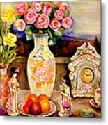 Red Roses Yellow Daffodils In Hand Painted Oriental Antique Vases With Fruit Plate Doves And Angels Metal Print