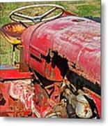 Red Rusty Beach Tractor Metal Print