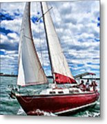 Red Sailboat Green Sea Blue Sky Metal Print
