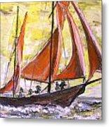 Red Sailing Boat  Metal Print