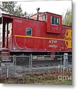 Red Sante Fe Caboose Train . 7d10329 Metal Print by Wingsdomain Art and Photography