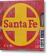 Red Sante Fe Caboose Train . 7d10333 Metal Print by Wingsdomain Art and Photography