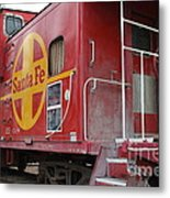 Red Sante Fe Caboose Train . 7d10334 Metal Print by Wingsdomain Art and Photography