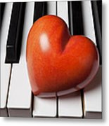 Red Stone Heart On Piano Keys Metal Print