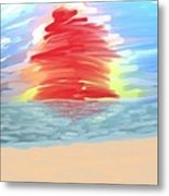 Red Sun Setting Metal Print