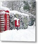Red Telephone And Post Box In The Snow Metal Print