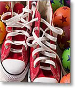 Red Tennis Shoes And Balls Metal Print