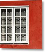Red Timber House And Window Frame In Metal Print