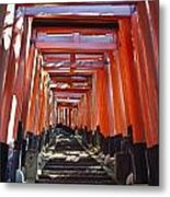 Red Torii Arches Over Steps At Inari Metal Print