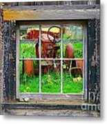 Red Tractor Thru Old Window Metal Print