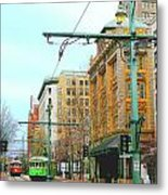 Red Trolley Green Trolley Metal Print