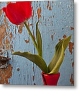Red Tulip Bending Metal Print