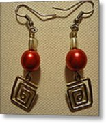 Red Twisted Square Earrings Metal Print by Jenna Green
